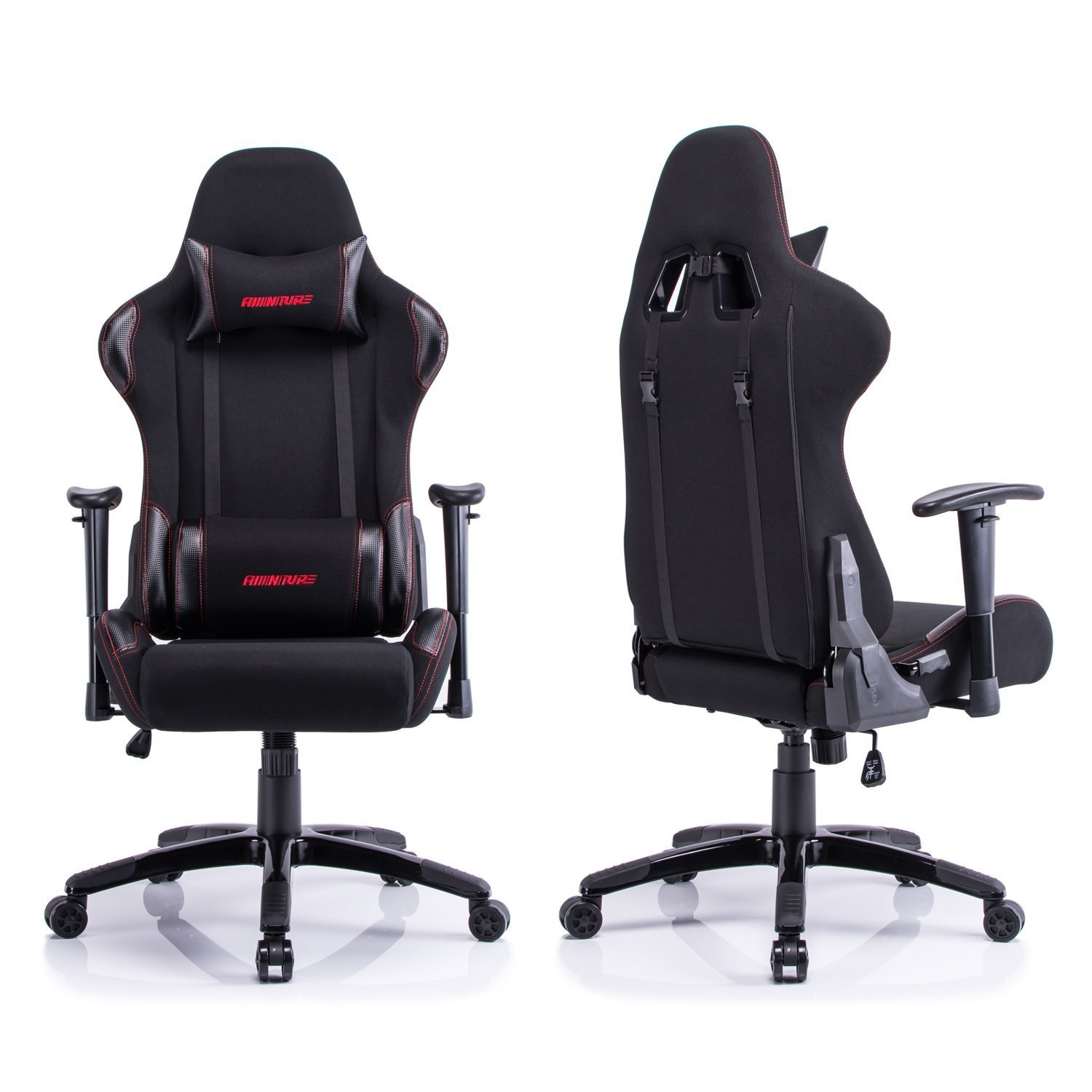 Amazon Aminiture Big and Tall Gaming Chair Red High Back Recliner Chair Fabric puter Chair Swivel fice Chair with Lumbar Support Kitchen &