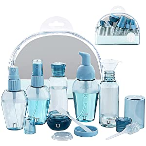 Jordan & Judy Travel Bottles, Leak-proof Travel Size Containers For Toiletries, Portable Travel Accessories For Shampoo and Conditioner, Airplane Travel Essentials For Women, 9 Pcs With Clear Bag