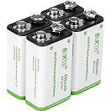 BAKTH Pilas Recargables Li-ion 9V 650mAh Rendimiento más Alto Litio de Batería (4 Piezas)