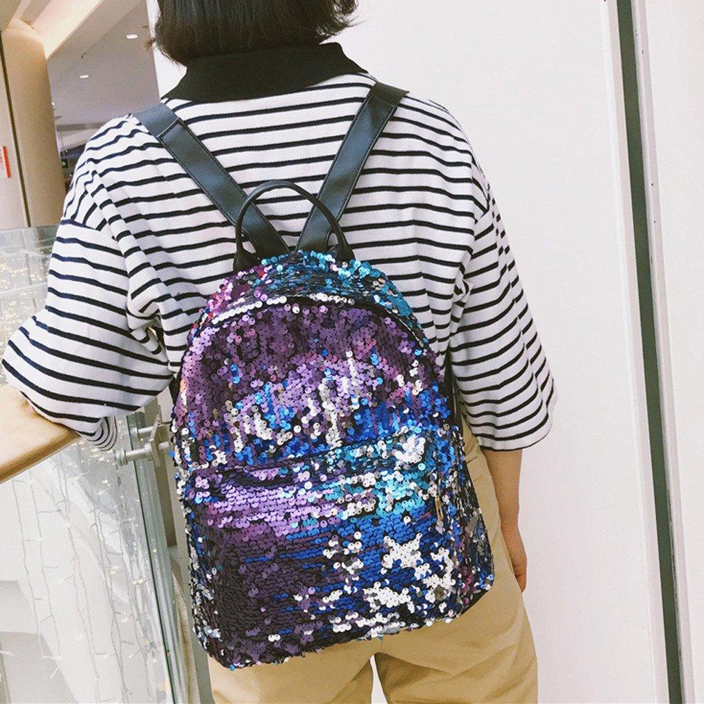 Amazon.com: YEZIJIN Women Fashion School Style Sequins Travel Satchel School Bag Backpack Bag: Baby