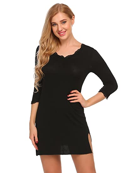 7d080a72c1 Adome Women Satin Long Nightdress Bride Jersey Nightshirt Floral Lace  Nightgown (Black