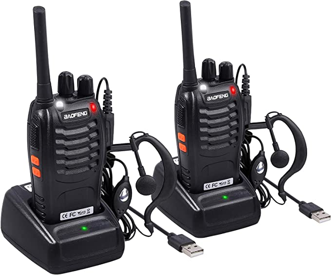 2 Pack Neoteck 16 Channel Rechargeable Walkie Talkie with Earpiece Vox Hands Free Ski Two-Way Radios