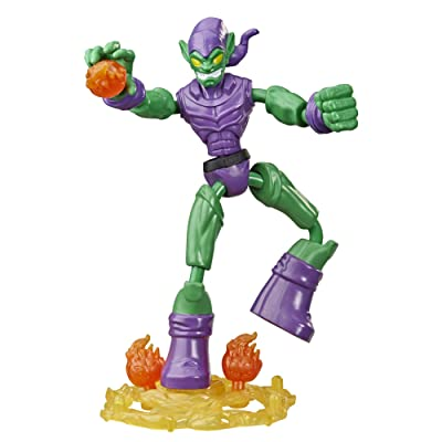 Spider-Man Marvel Bend and Flex Green Goblin Action Figure Toy, 6-Inch Flexible Figure, Includes Blast Accessories, for Kids Ages 4 and Up: Toys & Games