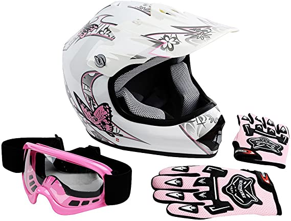 Goggles /& Gloves L DOT Approved Youth MX//ATV Helmet Lunatic Pink KIT-L2006P-15 Boys Girls Kids