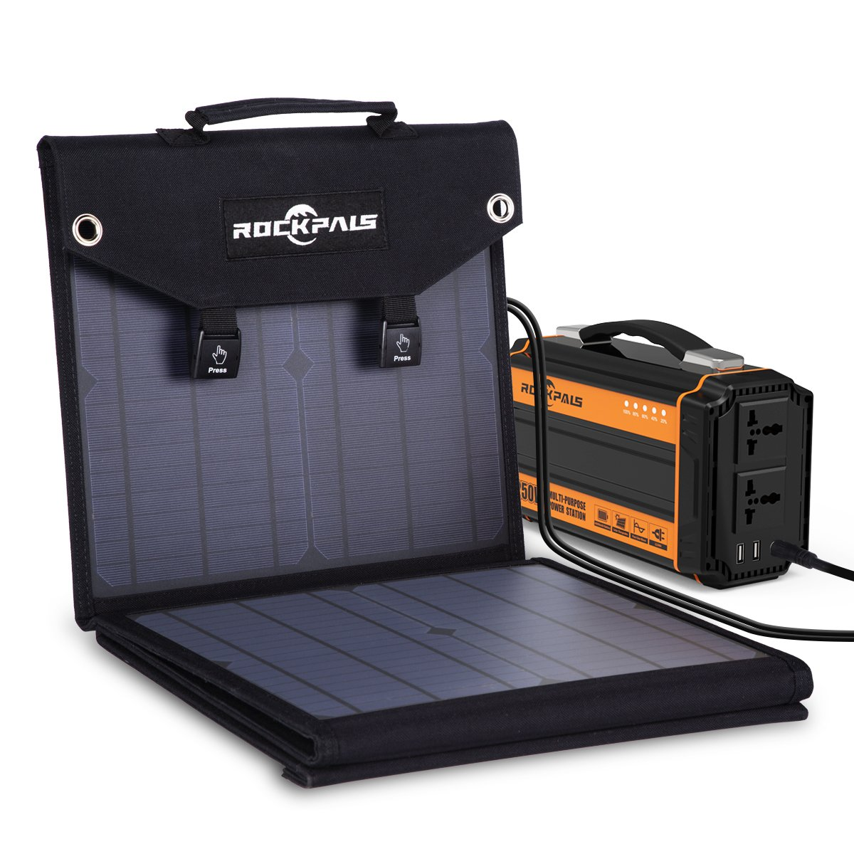 Rockpals Foldable 60W Solar Panel Charger for Suaoki Portable Generator/Goal Zero Yeti 100/150/400 Power Station/Paxcess Battery Pack/USB Devices, QC3.0 USB Ports by Rockpals (Image #4)