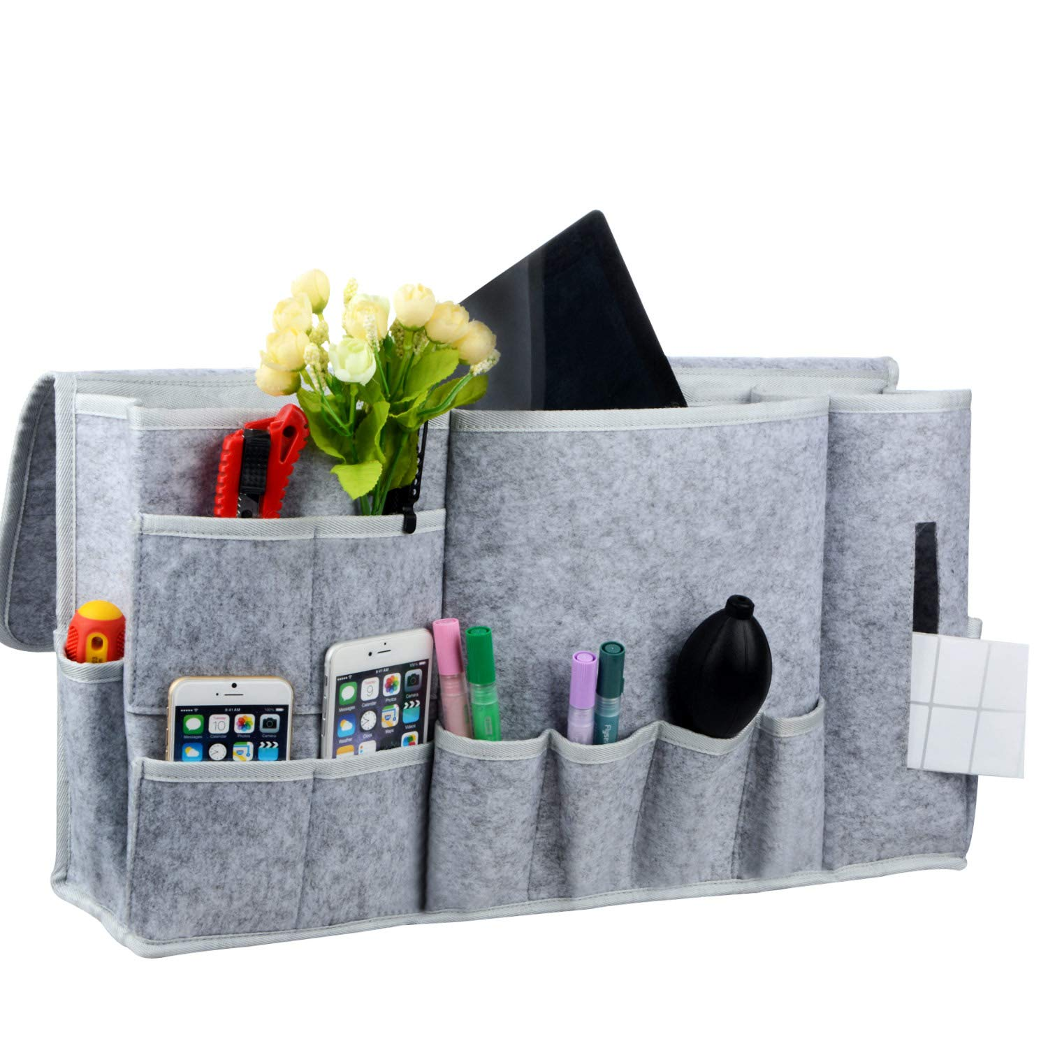 12 Pocket Bedside Caddy,Felt Bedside Storage Organizer,Table Cabinet Storage Organizer for Headboards, Bed Rails, Dorm Rooms,Bunk Beds,Apartments,Bathrooms and Travel PinnacleT1