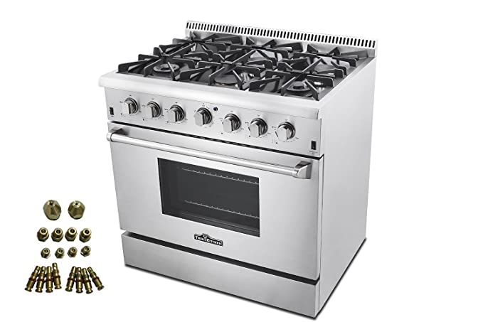 Charmant 36u0026quot; Pro Style 6 Burner Gas Range + LP Conversion Kit Bundle