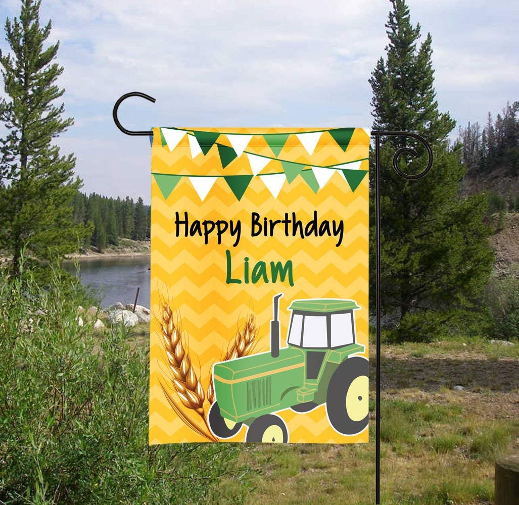 PotteLove Personalized Happy Birthday Tractor Garden Flag, Birthday Flag, Tractor Party Flag, Tractor Sign, Yard Decor, Green Tractor Outdoor Garden Yard Party Decor 12 x 18 Inch