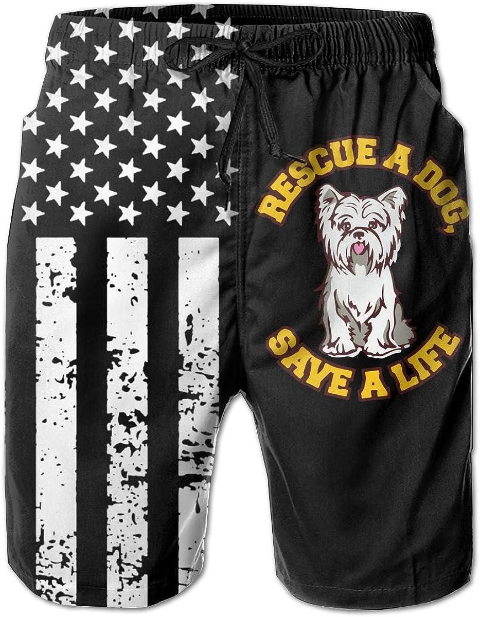 TBVS 79 Adopt A Dog Save A Life 5 Mens Elastic Waist Surf Beach Shorts with Pocket Drawstring