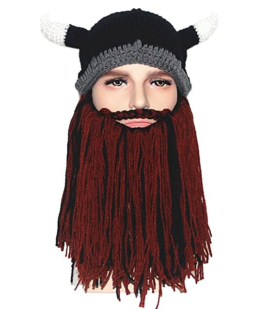 Kafeimali Men s Original Barbarian Pillager Knit Caps Beard Looter Viking  Hat (BKBR) d41c1e4608e