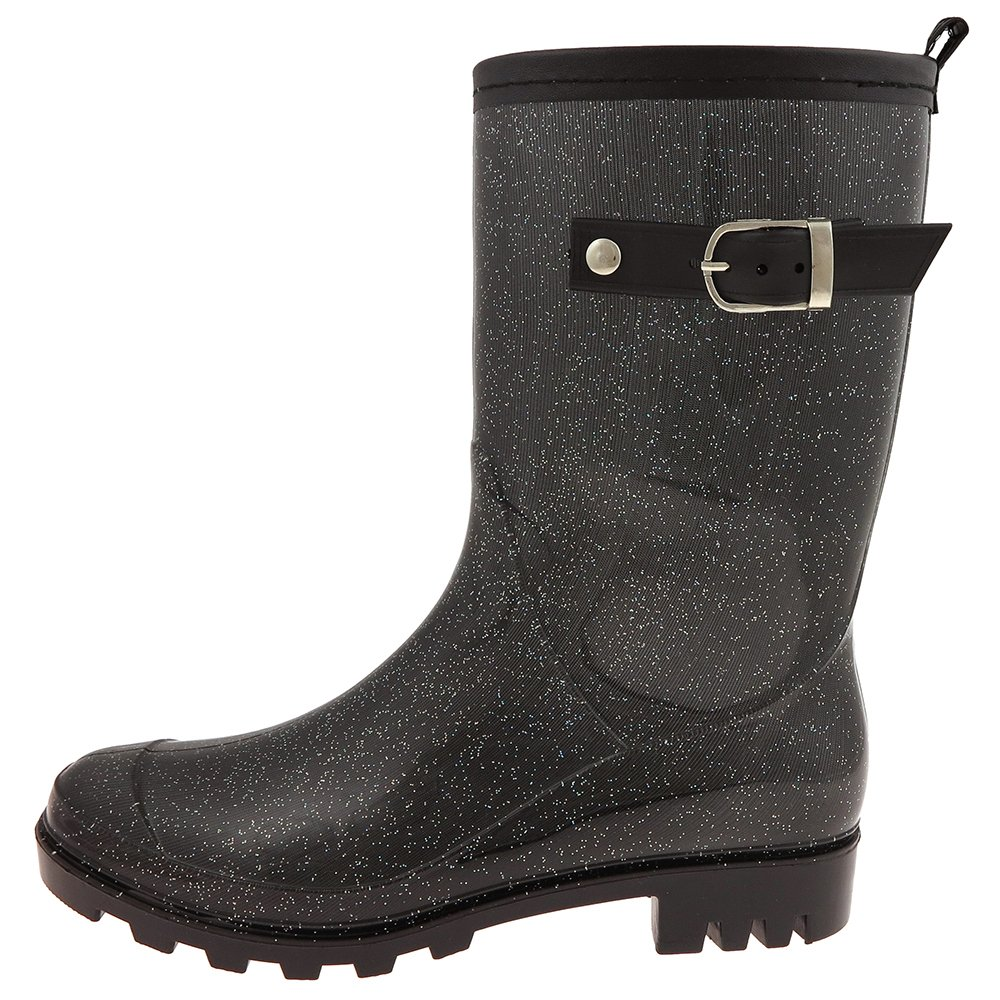 Black Combo Capelli New York Solid Ladies Short Basic Body Jelly Rain Boot