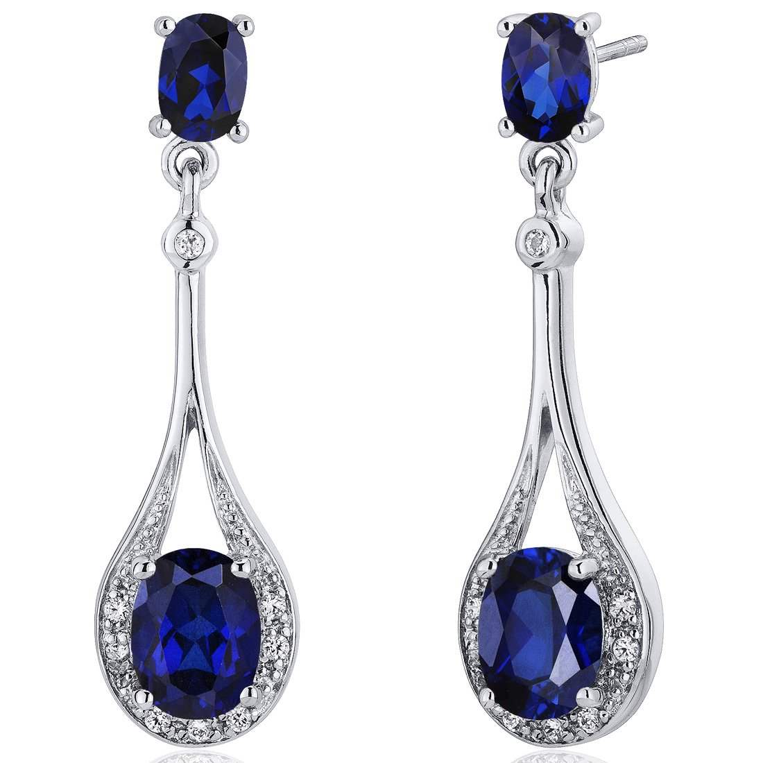 Created Blue Sapphire Dangle Earrings Sterling Silver 5.00 Carats by Peora