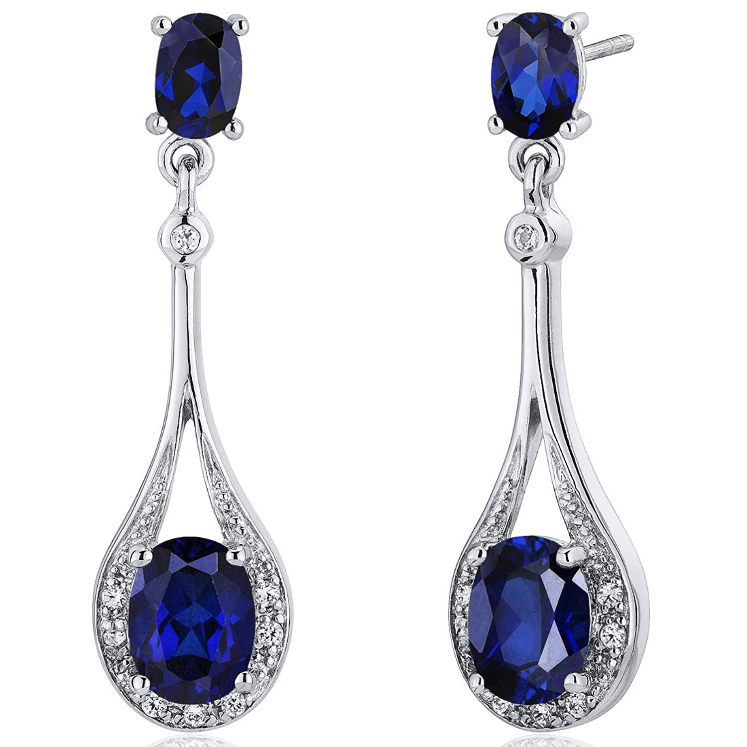 Amazon: Created Blue Sapphire Dangle Earrings Sterling Silver 500  Carats: Jewelry
