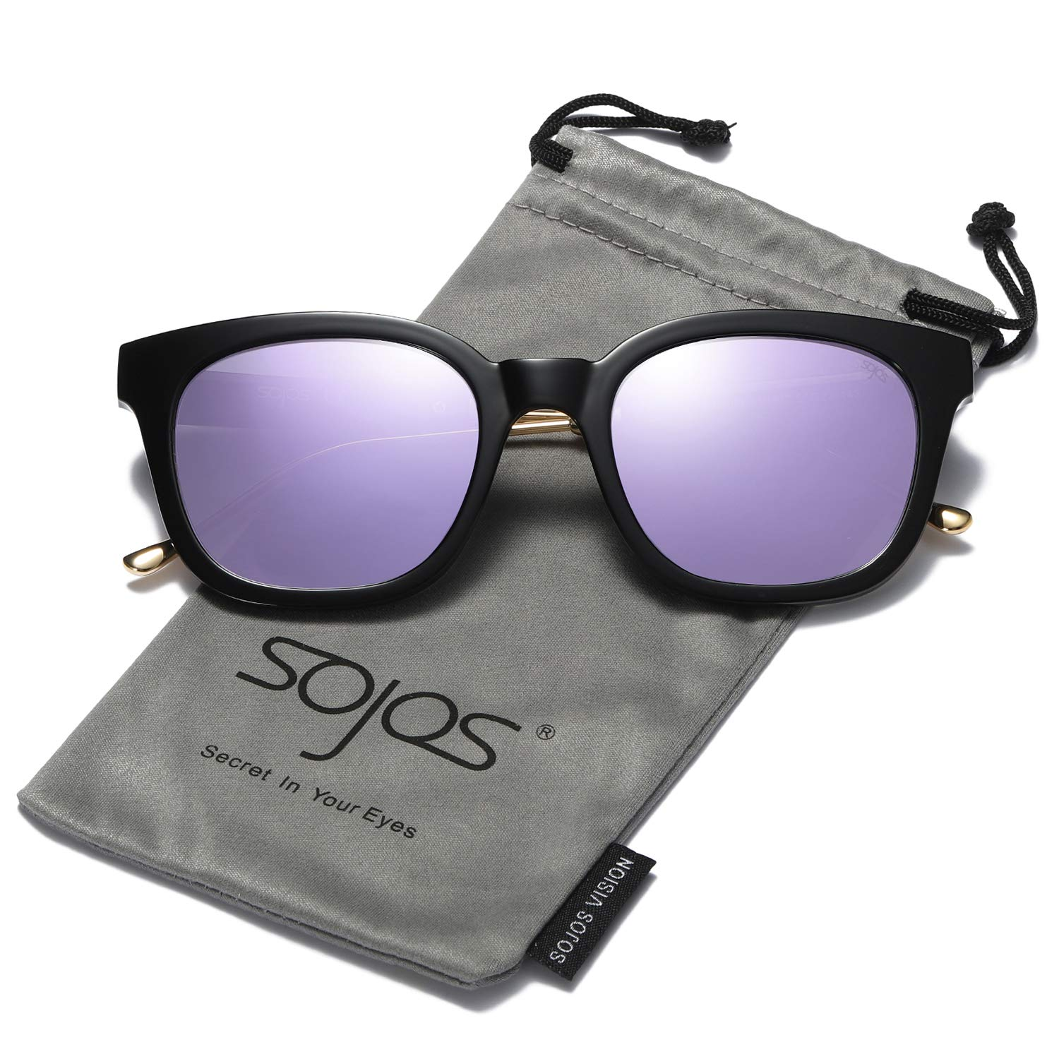 SOJOS Classic Polarized Sunglasses for Women Men Mirrored Lens SJ2050 with Black Frame/Purple Mirrored Polarized Lens
