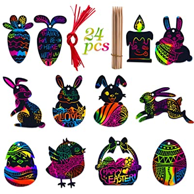 Hohomark Easter Scratch Art for Kids Scratch Art Paper Scratch Paper Art with 12 Patterns 24pcs: Toys & Games