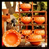 Unravel India Earthen Print Ceramic Cup Saucer(Set of 6)
