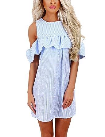 3ba613ebdb Women s Off Shoulder Dress Casual Mini Maxi Dress Striped Ruffled Sundress  Cold Shoulder Party Dress