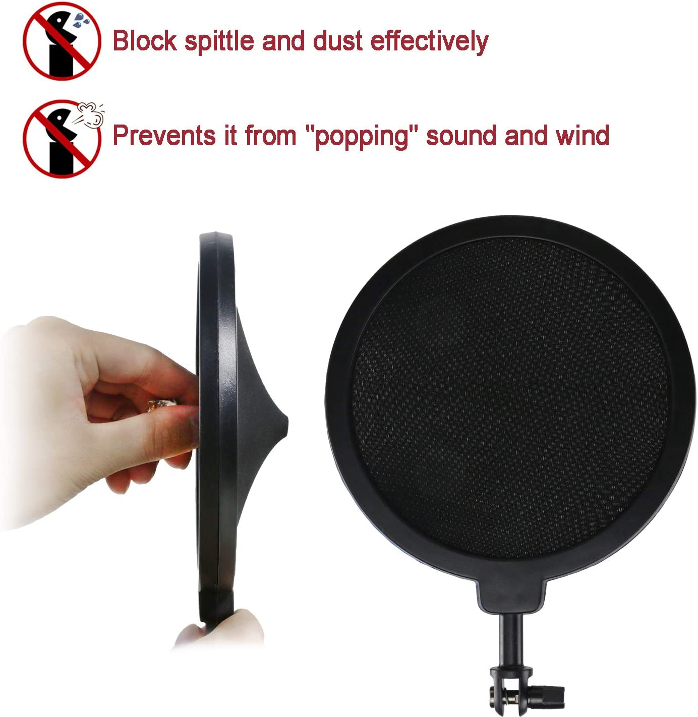 Windscreen and Shockmount to Reduce Vibration Noise Matching Mic Boom Arm for Blue Spark SL Microphone by YOUSHARES Blue Spark Shock Mount with Pop Filter