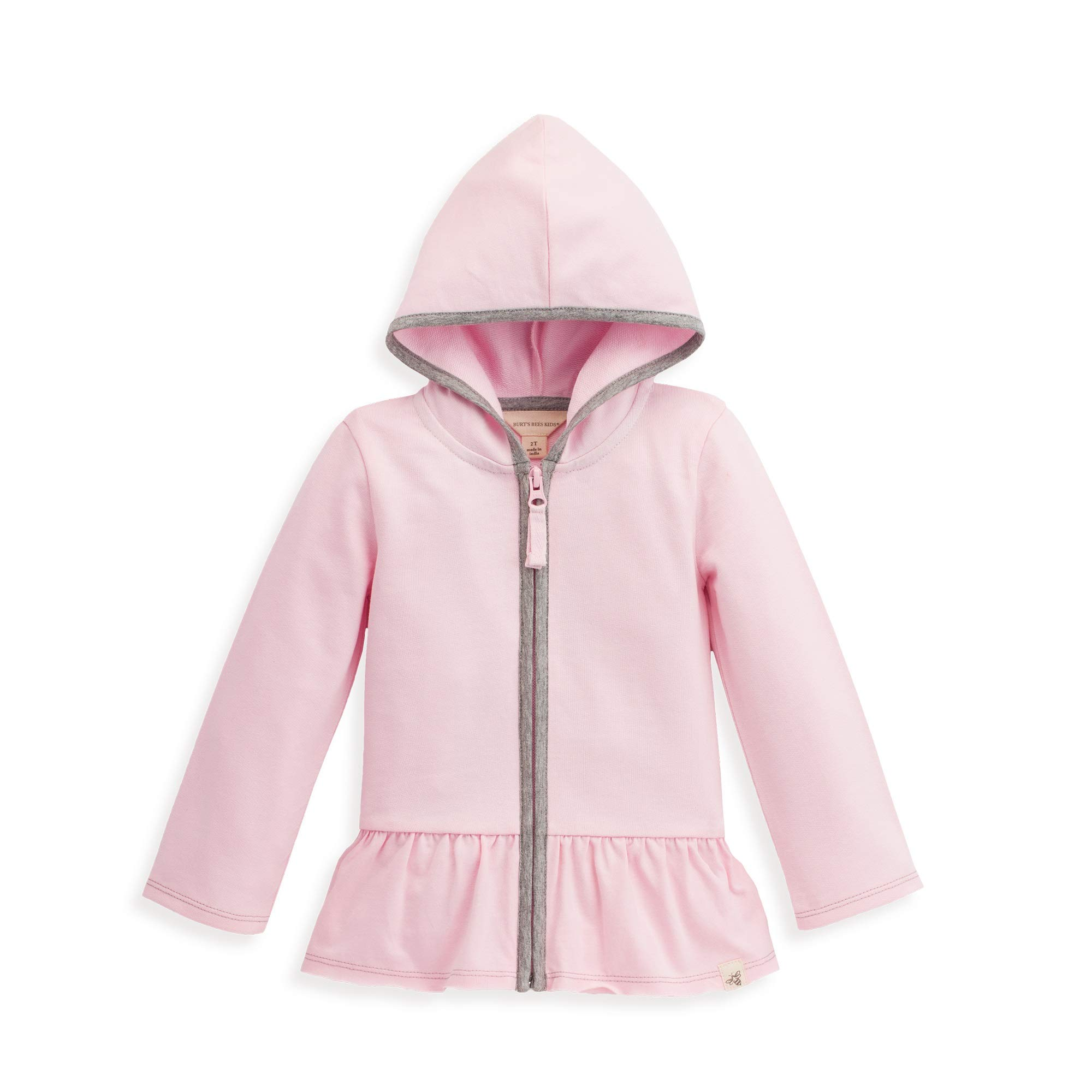 Burt's Bees Baby Baby Girl's French Terry Gathered Zip Hoodie Outerwear, blossom, 5 Years