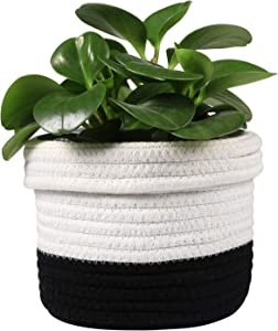 "LEEPES Cotton Rope Plant Basket Modern Woven Basket UP to 6"" Flower Pot Floor Indoor Planters,Storage Organizer Basket Rustic Home Decor,White Stitching Black H6 3/4""x W6 1/2"""