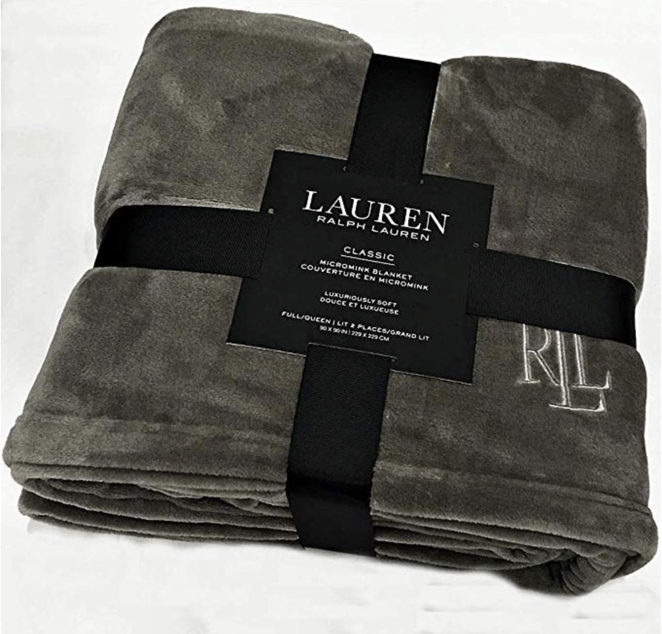 "Ralph Lauren Classic Charcoal Gray Micromink Plush All Season Blanket | Full/Queen 90"" x 90"" 