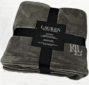 "Ralph Lauren Classic Charcoal Gray Micromink Plush All Season Blanket   Full/Queen 90"" x 90""   Machine Wash, Tumble Dry"