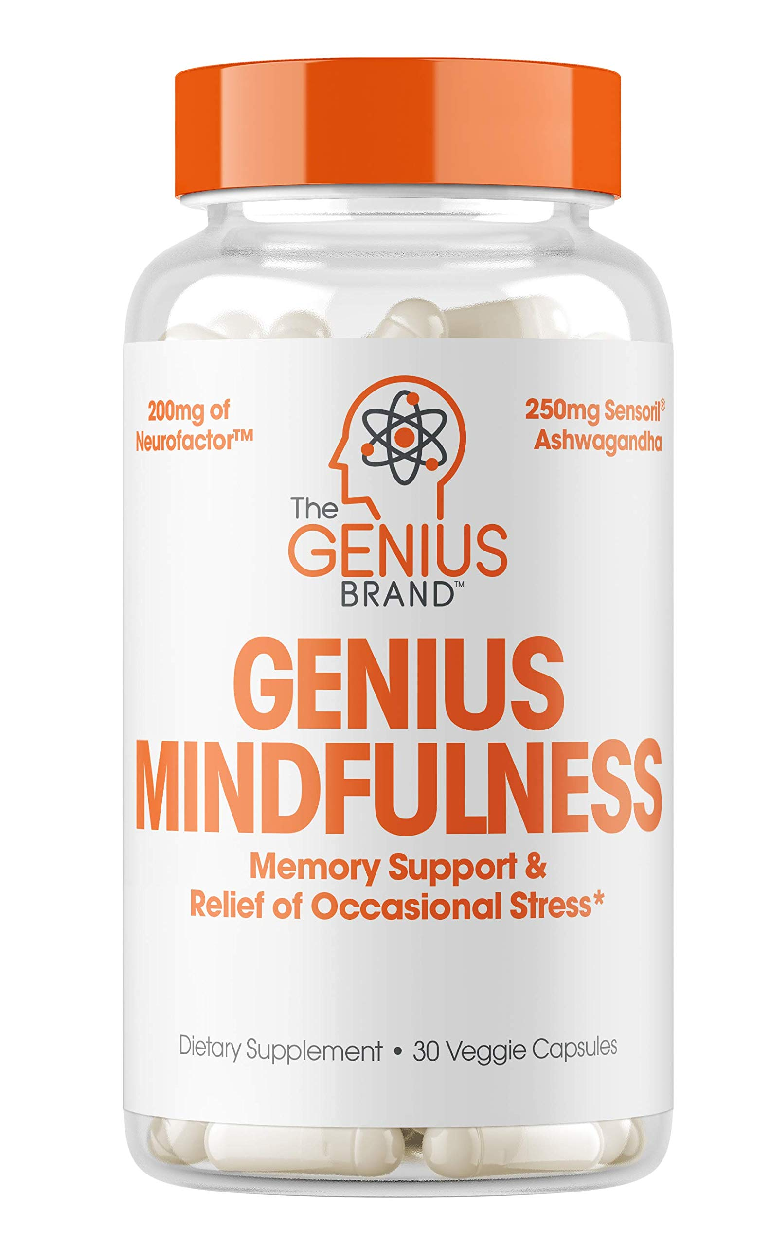 Genius Stress & Anxiety Relief Supplement w/ Ashwagandha, Nootropic Brain Booster & Memory Support w/ blueberry extract, Natural Focus, Energy & Serotonin, Calm Adrenal Fatigue & Cortisol 30 Capsules