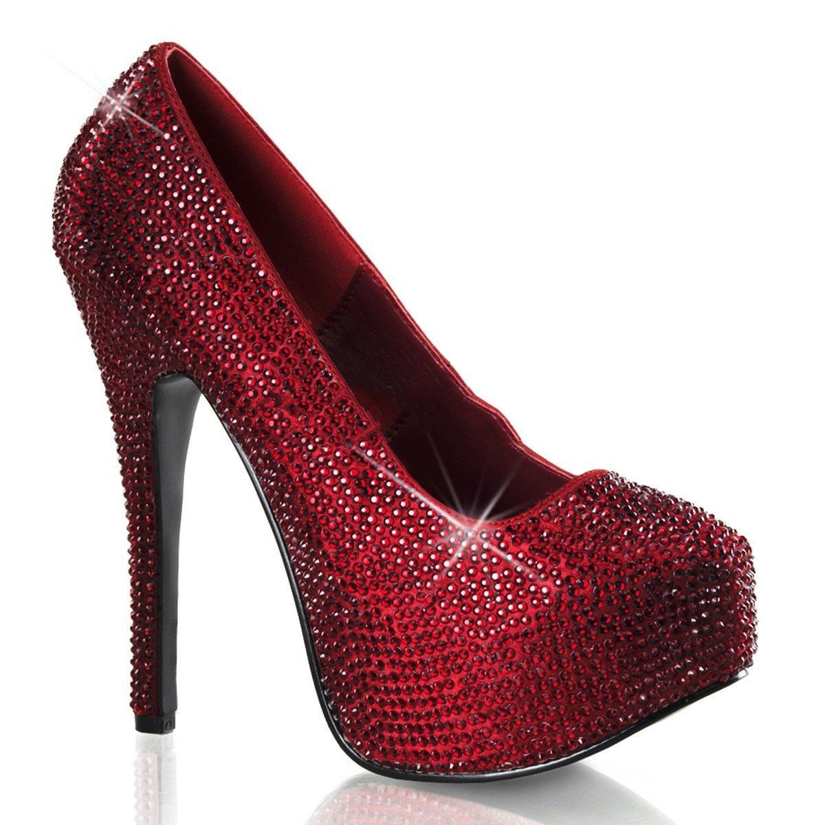 Bordello Teeze-06R - - - Original Burlesque Plateau Pumps mit Strass-Besatz in Rubin Rot Größe EU-41 42 US-11 UK-8 08061a