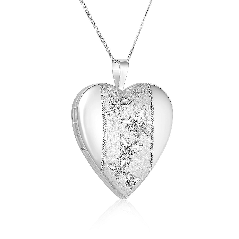 Regetta Jewelry Sterling Silver Butterflies Journey Heart Locket Pendant Necklace, 18'' By
