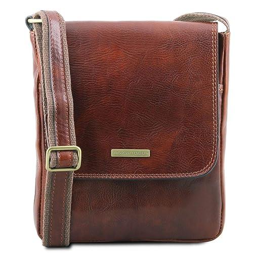cf67768e1aef9 Tuscany Leather John Borsello da uomo in pelle con zip frontale Marrone   Amazon.it  Scarpe e borse
