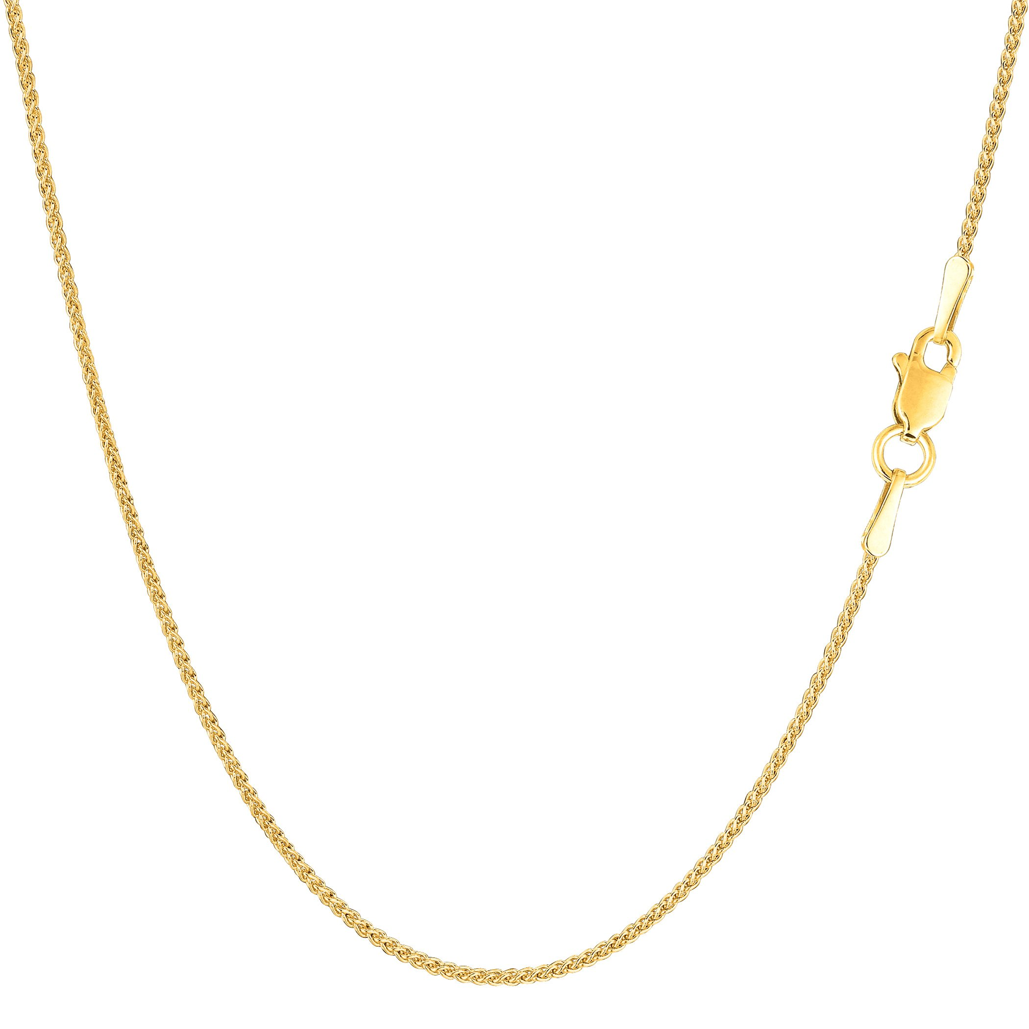 14k Yellow Gold Round Wheat Chain Necklace, 1.15mm, 20'' by JewelryAffairs