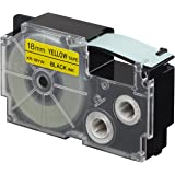 Casio XR-18YW1-W-DJ Label Printer Tape (Black and Yellow)