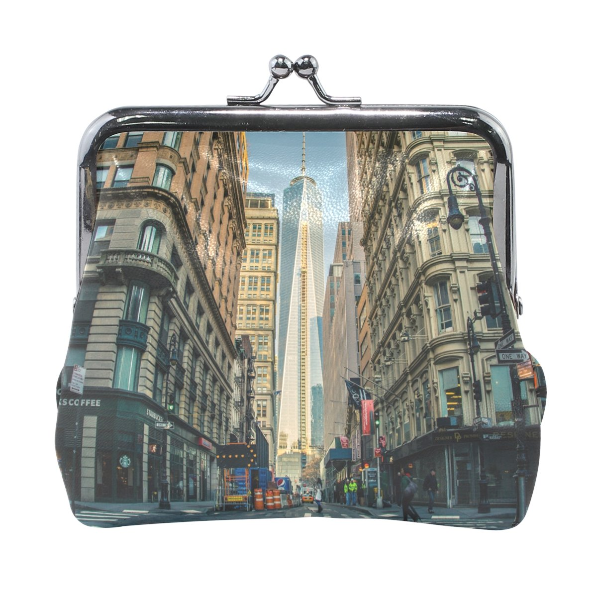 Leather Coin Purse Clutch Pouch Handbag with World Trade Center In Manhattan Wallet/for Women Girls Students