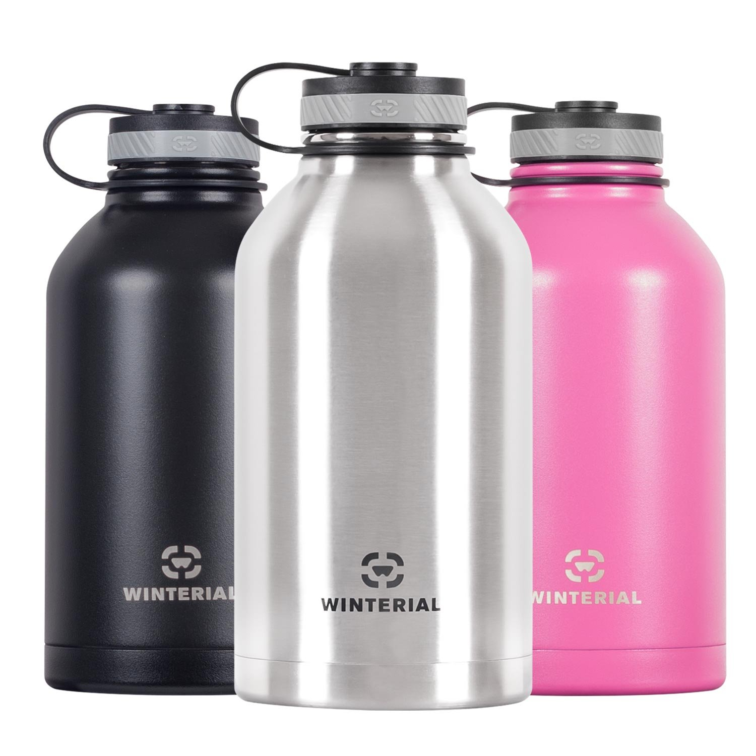 Winterial 64 Oz Insulated Water Bottle Wide Mouth Beer Growler (Black)