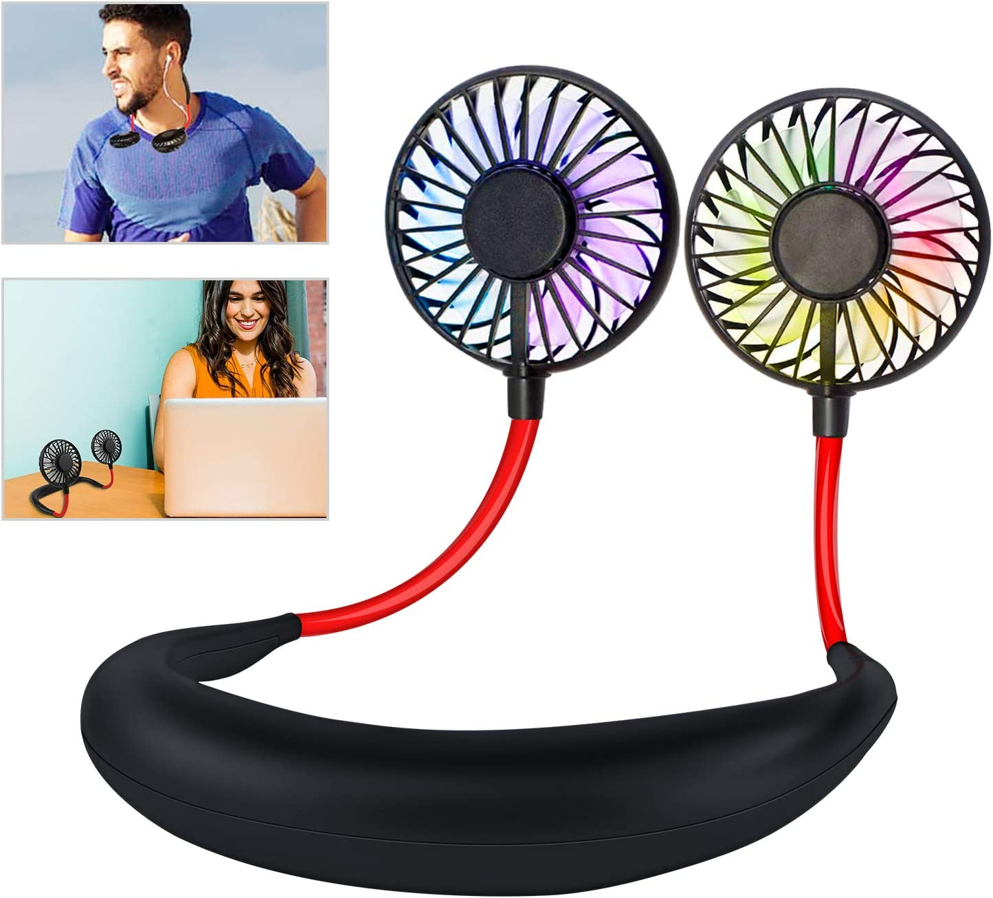 Leipple Neck Fan Portable- Neckband Fan USB Charging Hand Free – Personal Mini Sport Fan – Rechargeable with 3 Speeds Adjustable and LED Light for Sports Travel Outdoor Office Reading