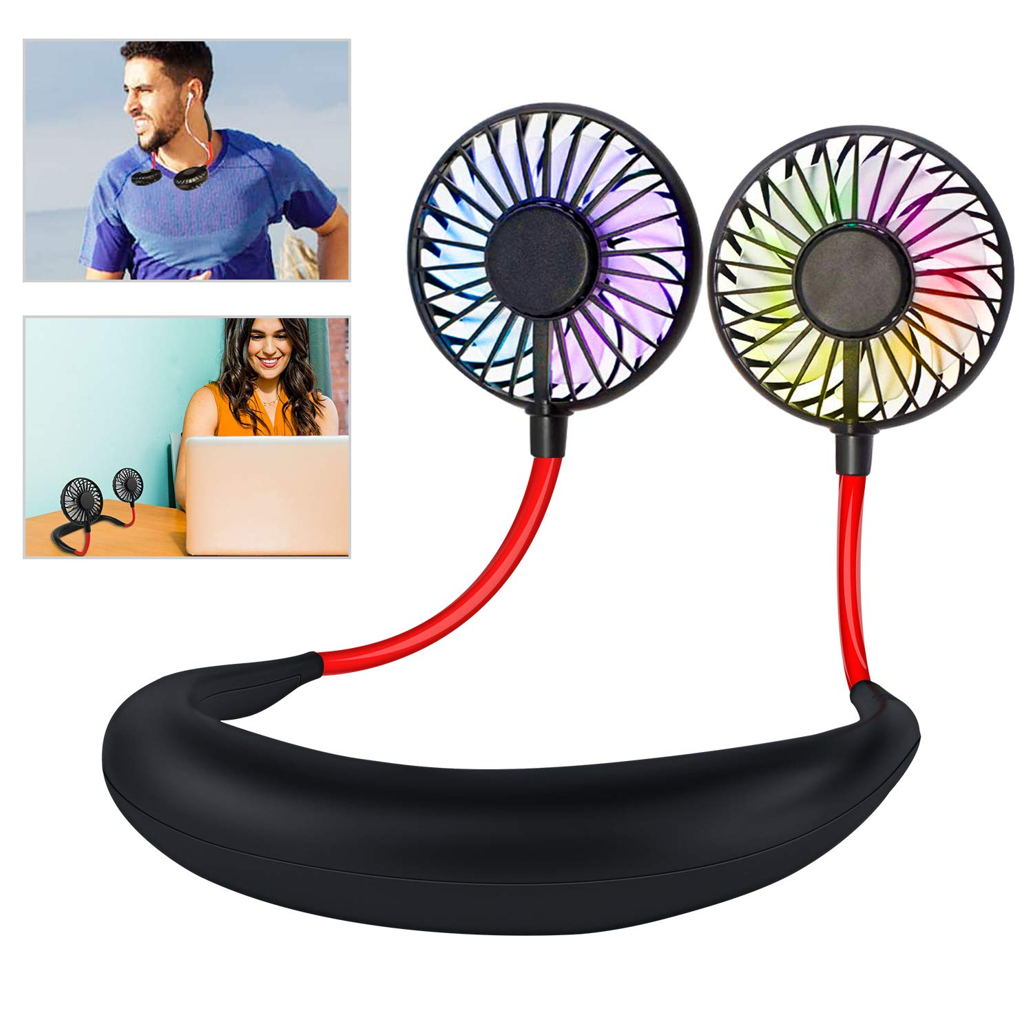 Leipple Neck Fan Portable- Neckband Fan USB Charging Hand Free - Personal Mini Sport Fan - Rechargeable with 3 Speeds Adjustable and LED Light for Sports Travel Outdoor Office Reading by Leipple