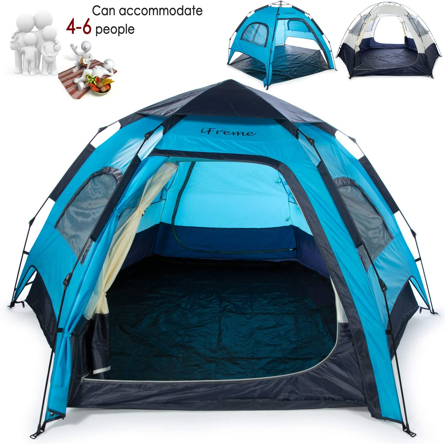 iFreme Lightweight Portable Camping Tent,4-6 Person Large Tent with Double Layer Instant Setup Tent,Waterproof Camping Tent for 4 Seasons