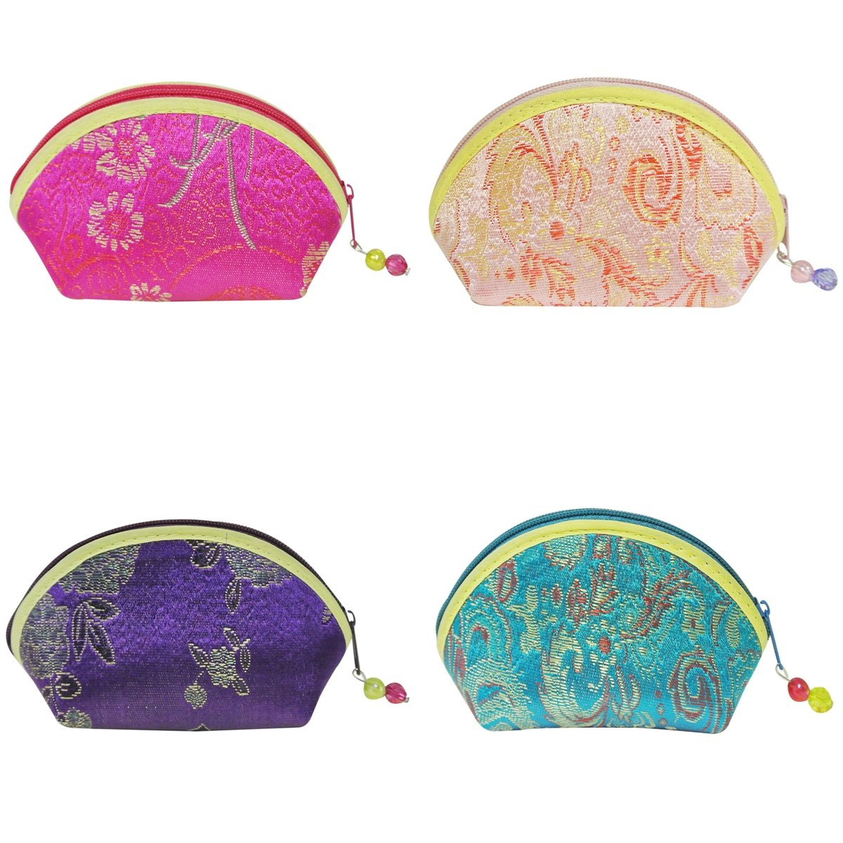 Wrapables Silk Embroidered Brocade Gift Jewelry Coin Pouch Purse, Fuchsia/Teal/Pink/Purple, Set of 4