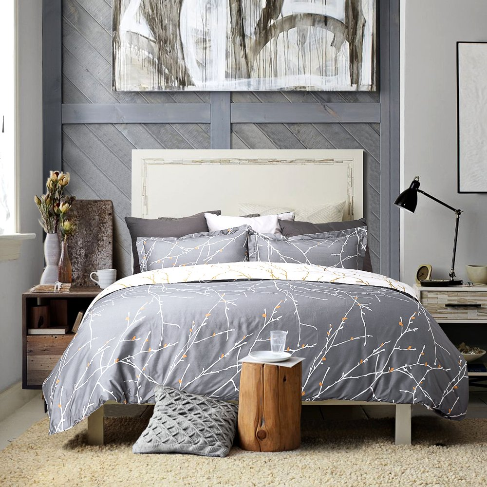Bedsure Luxury Printed Duvet Cover Set Modern Microfiber with Zipper Closure and Corner Ties Grey Ivory Branch Pattern Full Queen Size 86''x96'' with Two Pillow Sham Soft Unique