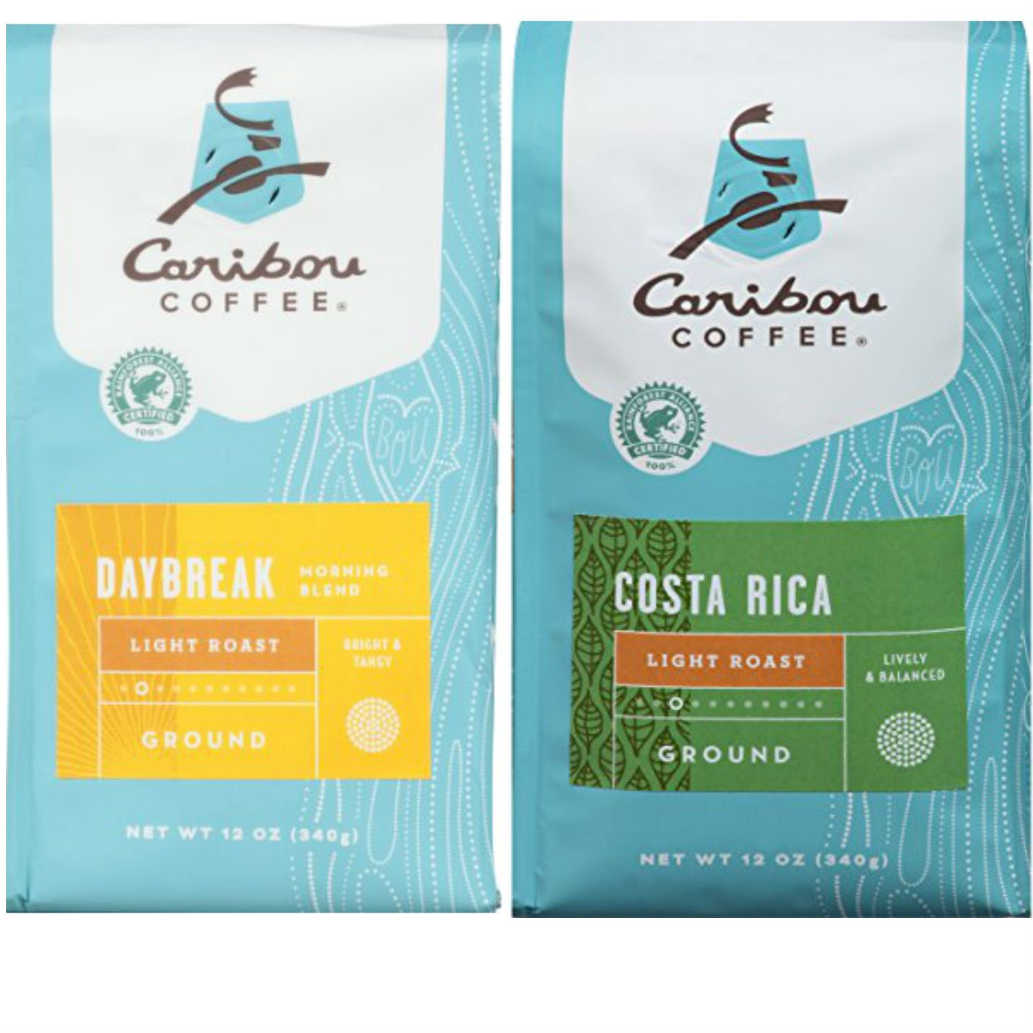 Caribou Light Ground Daybreak Coffee and Costa Rica Coffee; Easy and Convenient Shopping For 2 Popular and Hard to Find Caribou Coffee Varieties. Perfectly Delicious Choice for Office, Home or Dorm.