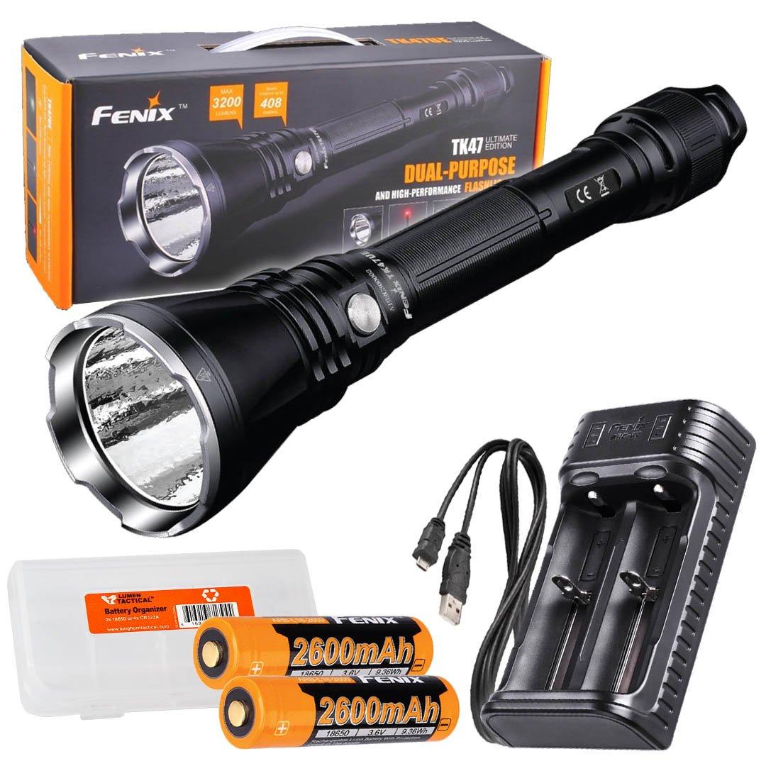 Fenix TK47UE Ultimate Edition 3200 Lumen LED Tactical Flashlight w/ 2x 18650 batteries, Fenix ARE-X2 USB charger, and LumenTac Battery Organizer
