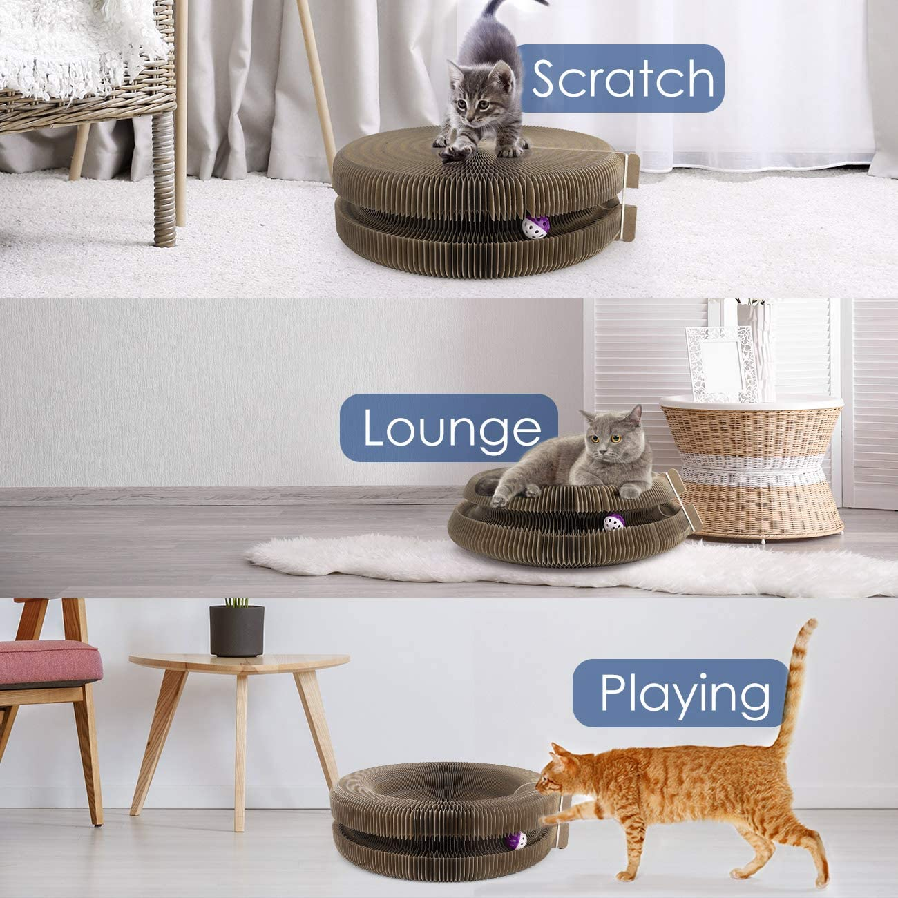 Pawaboo Cat Scratcher Lounge Bed Beige Multifunctional Collapsible High-Density Corrugated Cardboard Scratching Toy Pad Lounge Round Bed with Built-in Round Bell Balls /& Catnip for Cat Kitty Kitten