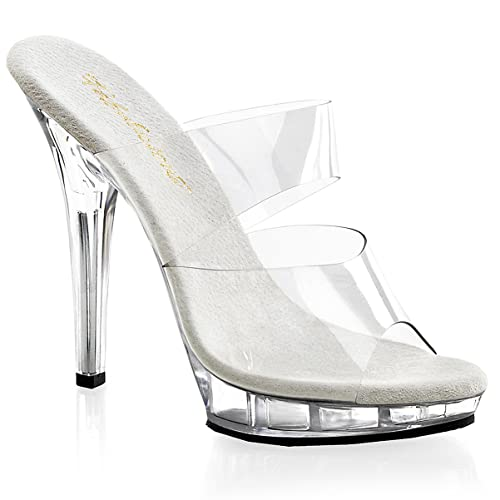 5 Inchy High Heel Shoe Two Band Platform S On Shoes Clear Size