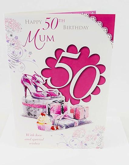 Happy 50th tarjeta de cumpleaños para madre rosa elegante ...