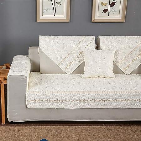 YLCJ Cubierta de sofá Bordado de algodón 1 Pieza Antideslizante ...