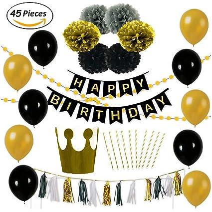 Paquete de 10 globos dorados y negros para decoración de fiestas de  cumpleaños d07791196be