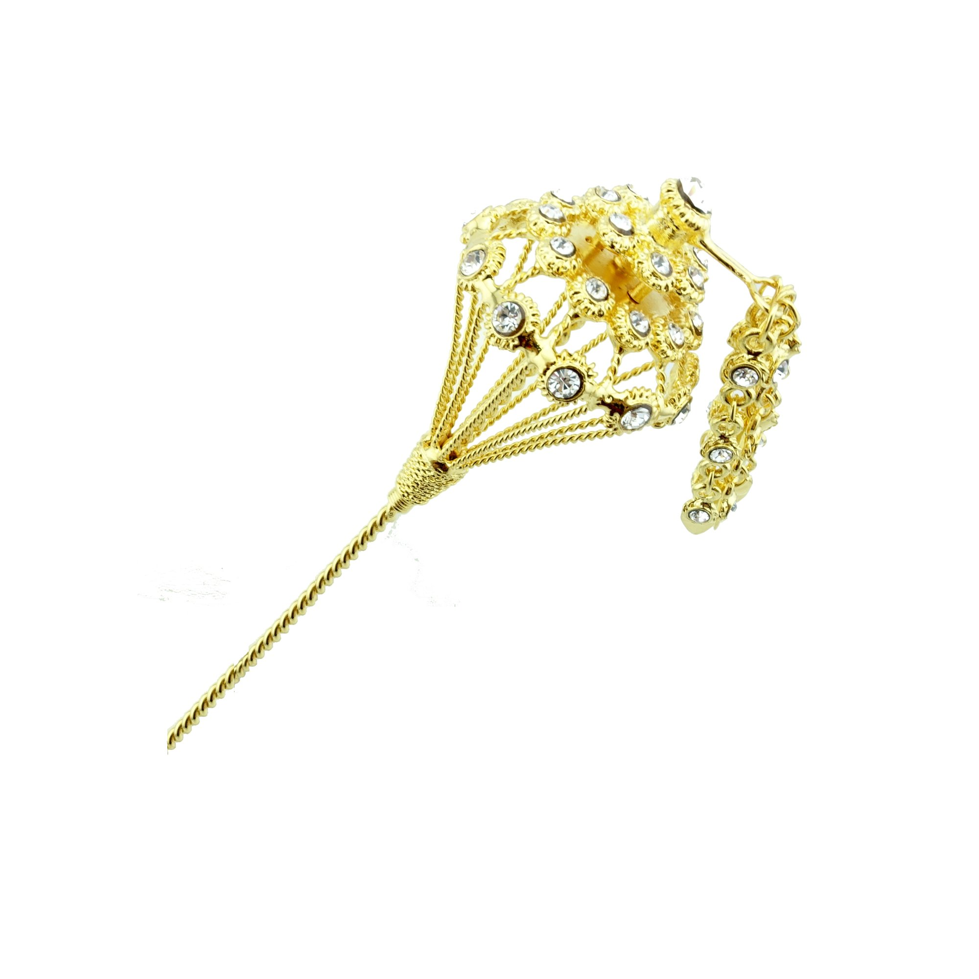 Siwalai Thai Traditional Gold Plated Clear Crystals Hair Pin 7 Inches