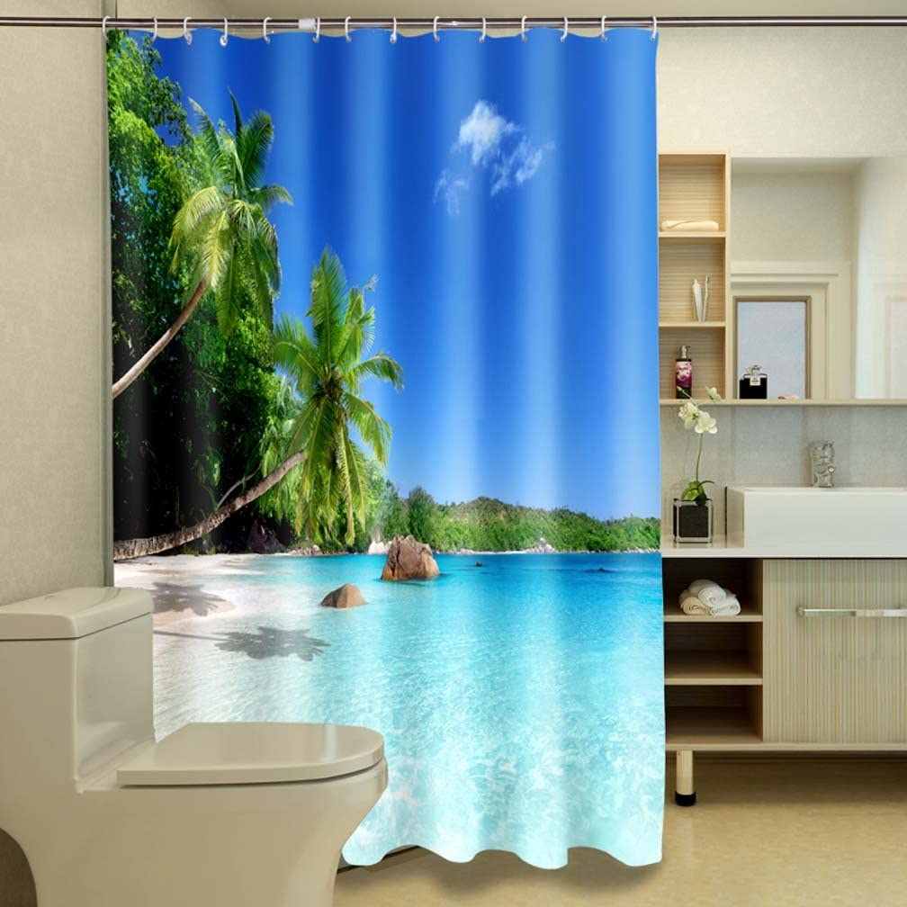 Polyester Fabric Bathroom Shower Curtain Set with Hooks Tropical Palm Trees on a Sunny Island Beach Scene Panoramic View Picture Jibin Bong 72 x 72 Inch Ocean Decor Shower Curtain