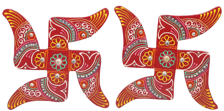 Buy Wooden Decorative Swastik Sathiya 15 Cm X 10 Cm X 02
