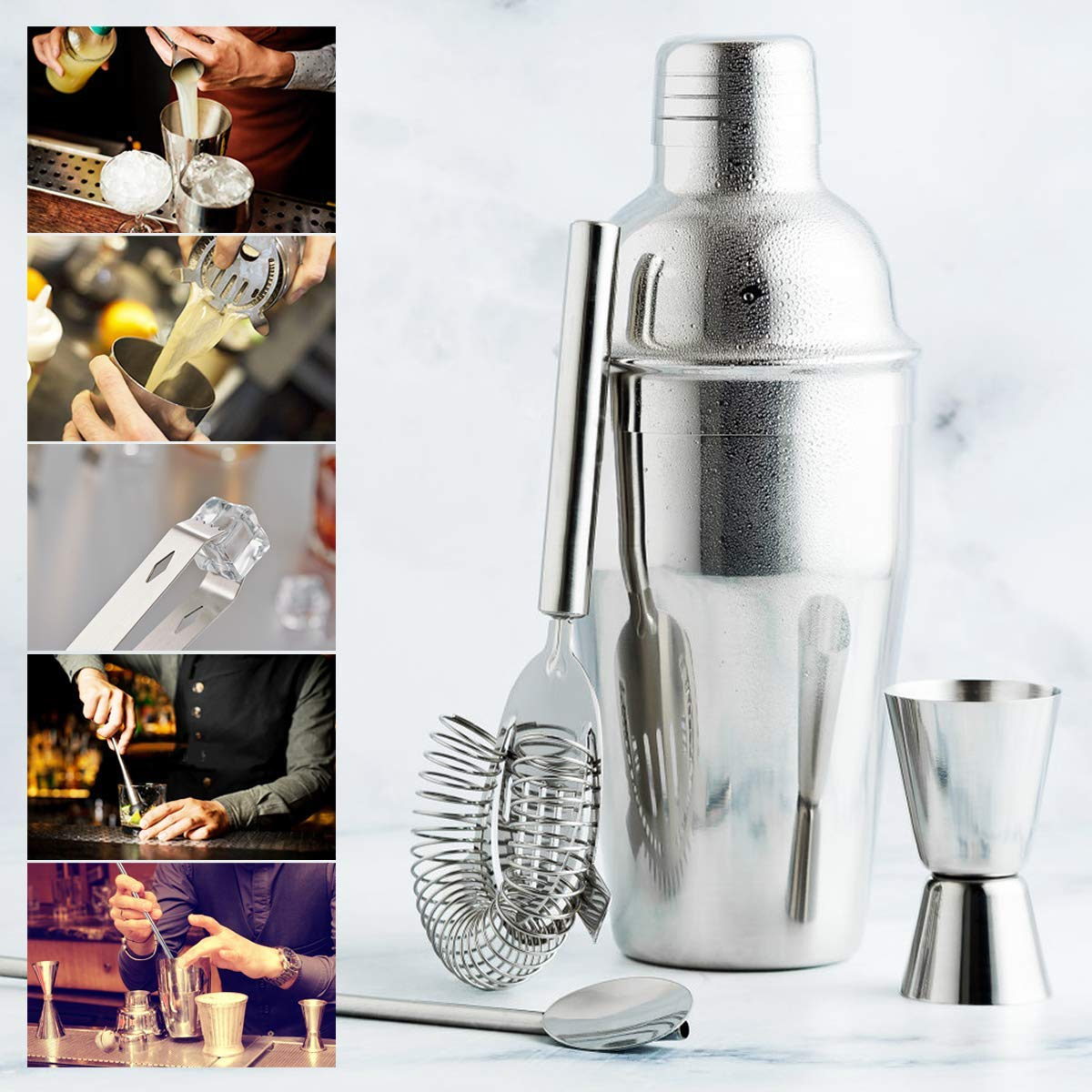 15 Piece Bartender Kit Cocktail Shaker Set with Stand: Home Bar Tools Set - Shaker with Strainer, Muddler, Jigger, Stand, Ice Thong and More - with Cocktail Recipes - Cocktail Shaker Stainless Steel by SUPERSUN (Image #3)